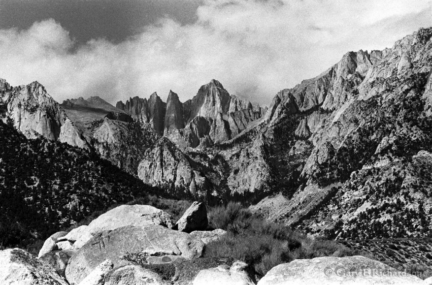 Twelve miles south of Onion Valley lies 14,500-foot Mount Whitney, the highest peak in the contiguous US